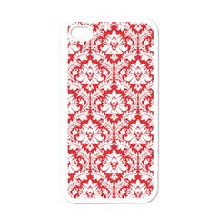 White On Red Damask Apple Iphone 4 Case (white) by Zandiepants