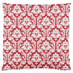Poppy Red Damask Pattern Large Cushion Case (One Side) by Zandiepants