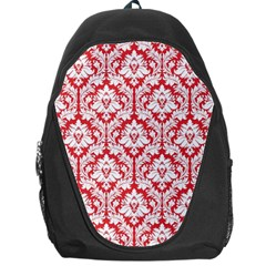 Poppy Red Damask Pattern Backpack Bag by Zandiepants