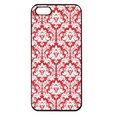 White On Red Damask Apple Iphone 5 Seamless Case (black) by Zandiepants