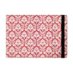 White On Red Damask Apple Ipad Mini Flip Case by Zandiepants