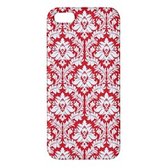 White On Red Damask Apple Iphone 5 Premium Hardshell Case by Zandiepants