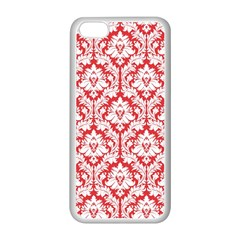 White On Red Damask Apple Iphone 5c Seamless Case (white) by Zandiepants