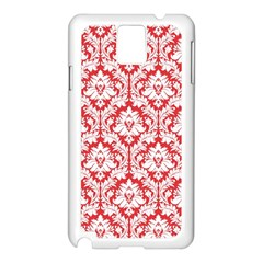 White On Red Damask Samsung Galaxy Note 3 N9005 Case (white) by Zandiepants
