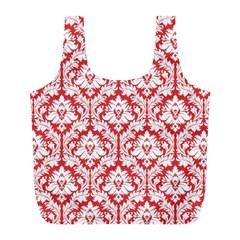 Poppy Red Damask Pattern Full Print Recycle Bag (l) by Zandiepants