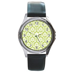White On Spring Green Damask Round Leather Watch (Silver Rim) by Zandiepants