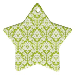 White On Spring Green Damask Star Ornament by Zandiepants