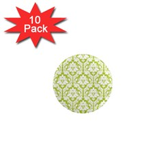 White On Spring Green Damask 1  Mini Button Magnet (10 Pack) by Zandiepants
