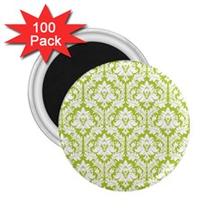 White On Spring Green Damask 2.25  Button Magnet (100 pack) by Zandiepants