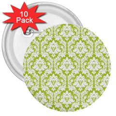 White On Spring Green Damask 3  Button (10 Pack) by Zandiepants