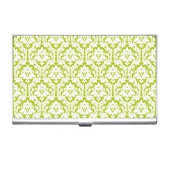 White On Spring Green Damask Business Card Holder