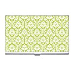 White On Spring Green Damask Business Card Holder Front