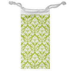 White On Spring Green Damask Jewelry Bag by Zandiepants