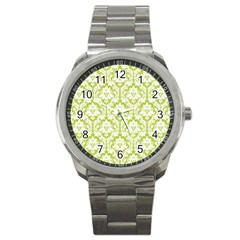 White On Spring Green Damask Sport Metal Watch by Zandiepants
