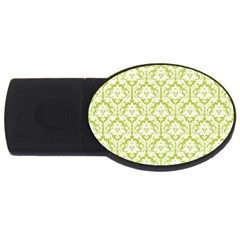 White On Spring Green Damask 4gb Usb Flash Drive (oval) by Zandiepants