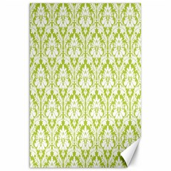 White On Spring Green Damask Canvas 20  X 30  (unframed) by Zandiepants