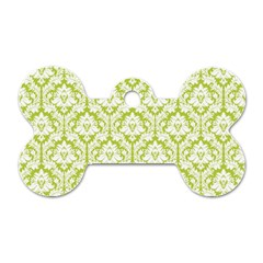 White On Spring Green Damask Dog Tag Bone (One Sided) by Zandiepants