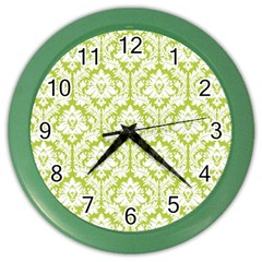 White On Spring Green Damask Wall Clock (color) by Zandiepants