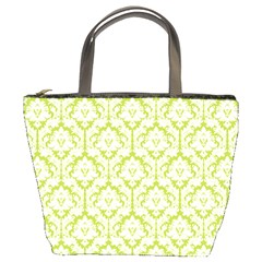Spring Green Damask Pattern Bucket Bag by Zandiepants