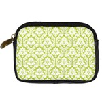 White On Spring Green Damask Digital Camera Leather Case Front