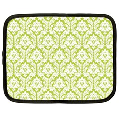 White On Spring Green Damask Netbook Sleeve (xl) by Zandiepants
