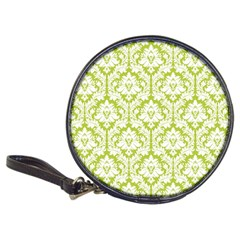 White On Spring Green Damask Cd Wallet by Zandiepants