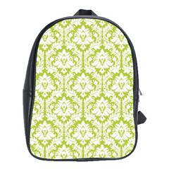 White On Spring Green Damask School Bag (large) by Zandiepants
