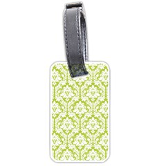 White On Spring Green Damask Luggage Tag (one Side) by Zandiepants