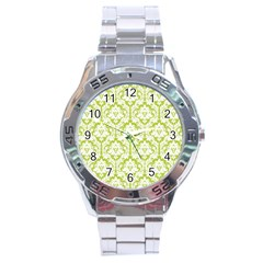 White On Spring Green Damask Stainless Steel Watch by Zandiepants