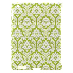 White On Spring Green Damask Apple Ipad 3/4 Hardshell Case (compatible With Smart Cover) by Zandiepants
