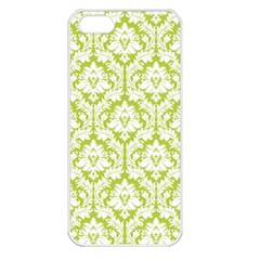 White On Spring Green Damask Apple Iphone 5 Seamless Case (white) by Zandiepants