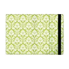 White On Spring Green Damask Apple Ipad Mini Flip Case by Zandiepants