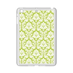 White On Spring Green Damask Apple iPad Mini 2 Case (White) by Zandiepants