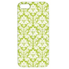 White On Spring Green Damask Apple iPhone 5 Hardshell Case with Stand by Zandiepants