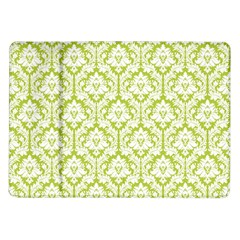 White On Spring Green Damask Samsung Galaxy Tab 10 1  P7500 Flip Case by Zandiepants