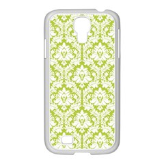 White On Spring Green Damask Samsung Galaxy S4 I9500/ I9505 Case (white) by Zandiepants