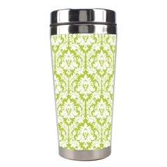 White On Spring Green Damask Stainless Steel Travel Tumbler by Zandiepants