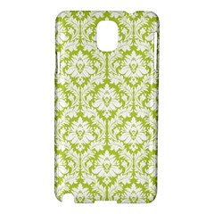 White On Spring Green Damask Samsung Galaxy Note 3 N9005 Hardshell Case by Zandiepants
