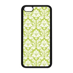 White On Spring Green Damask Apple Iphone 5c Seamless Case (black) by Zandiepants