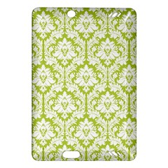 White On Spring Green Damask Kindle Fire Hd 7  (2nd Gen) Hardshell Case by Zandiepants