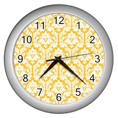 White On Sunny Yellow Damask Wall Clock (silver) by Zandiepants