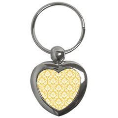 White On Sunny Yellow Damask Key Chain (heart) by Zandiepants