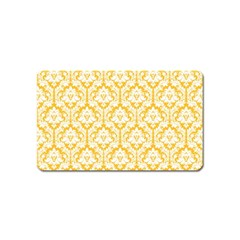 White On Sunny Yellow Damask Magnet (name Card) by Zandiepants