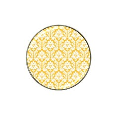 White On Sunny Yellow Damask Golf Ball Marker (for Hat Clip) by Zandiepants