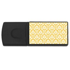 White On Sunny Yellow Damask 4gb Usb Flash Drive (rectangle) by Zandiepants