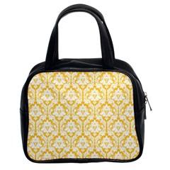 Sunny Yellow Damask Pattern Classic Handbag (Two Sides) by Zandiepants