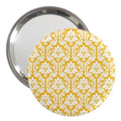 White On Sunny Yellow Damask 3  Handbag Mirror by Zandiepants