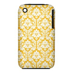 White On Sunny Yellow Damask Apple Iphone 3g/3gs Hardshell Case (pc+silicone) by Zandiepants