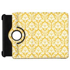 White On Sunny Yellow Damask Kindle Fire Hd 7  (1st Gen) Flip 360 Case by Zandiepants