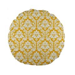 Sunny Yellow Damask Pattern Standard 15  Premium Round Cushion  by Zandiepants